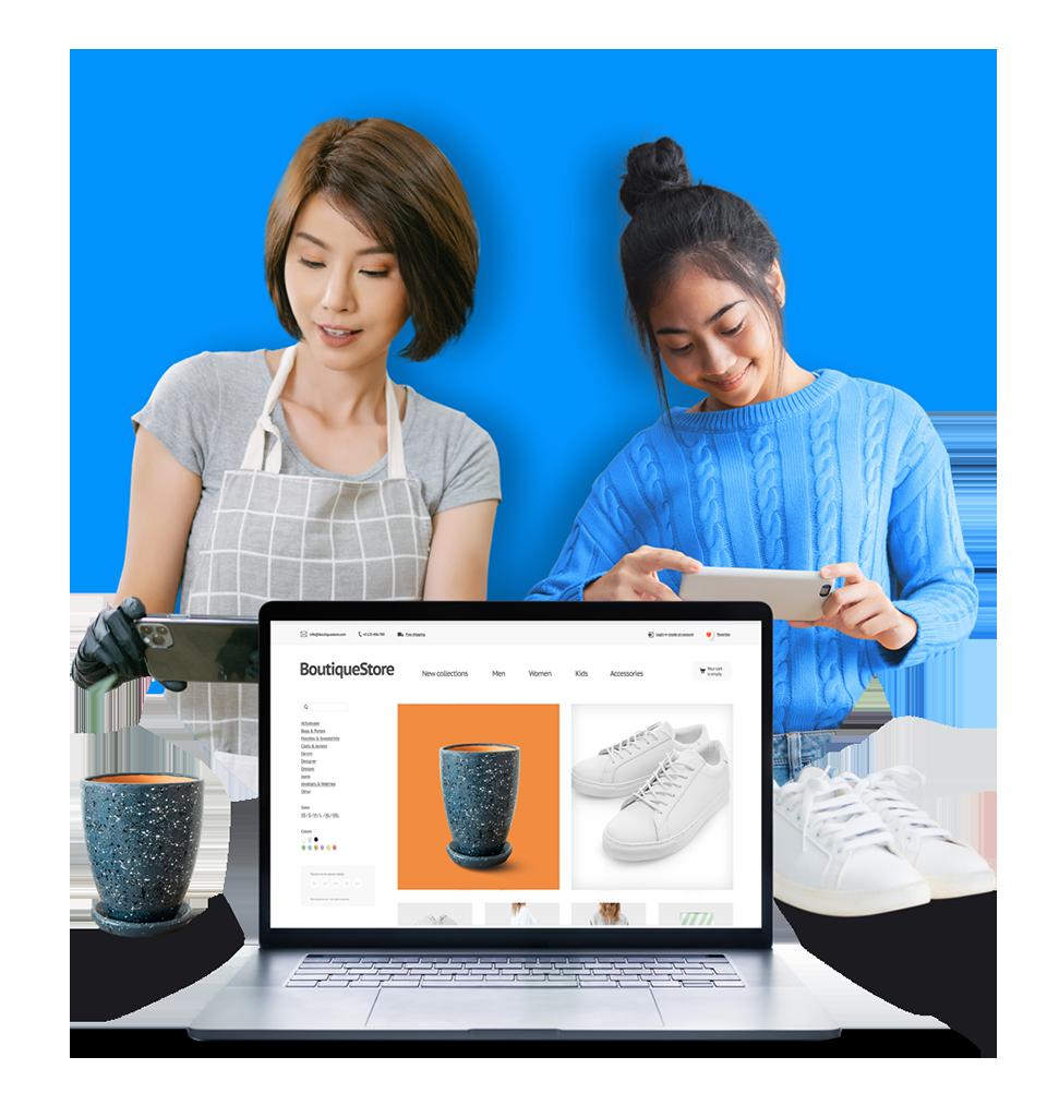 Embarcadoras Loggi fotografando seus produtos que depois já aparecem no e-commerce delas que aparece na tela de um notebook