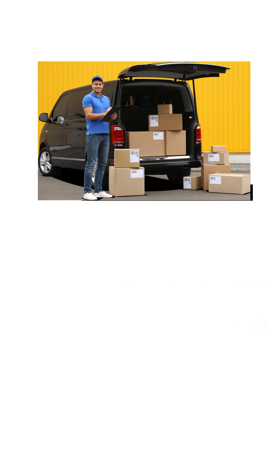 Entregador parceiro Loggi carregando seu veículo com caixas para serem entregues em todo o Brasil