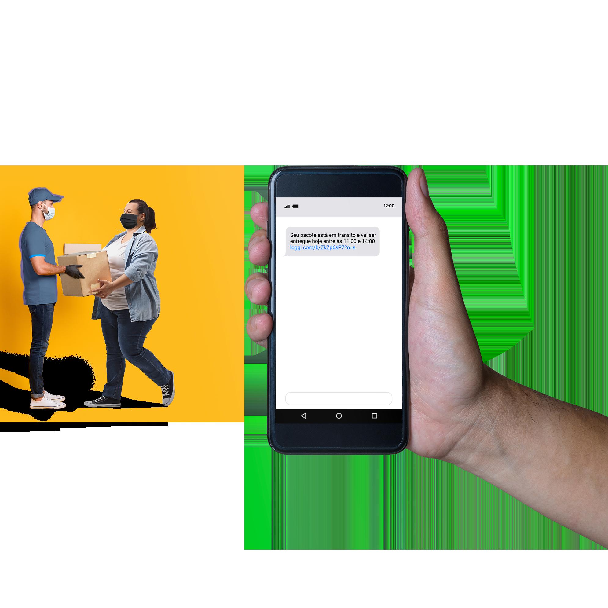 Entregador parceiro Loggi entregando pacote para o destinatário e mensagem de confirmação de entrega da Loggi na tela de um celular