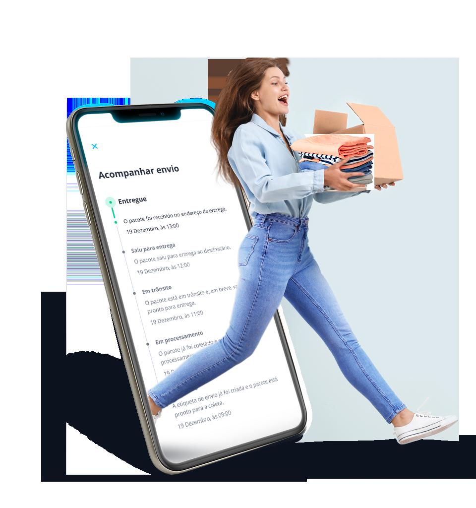 Rastreio Loggi em tempo real na tela de um celular e uma embarcadora Loggi com mais produtos vendidos para enviar para todo o Brasil